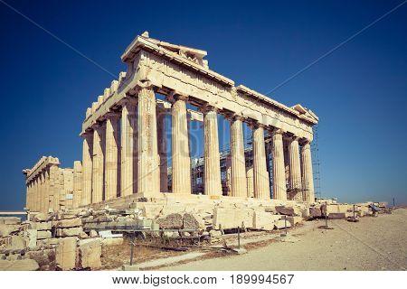 View on Parthenon in Acropolis of Athens, Greece