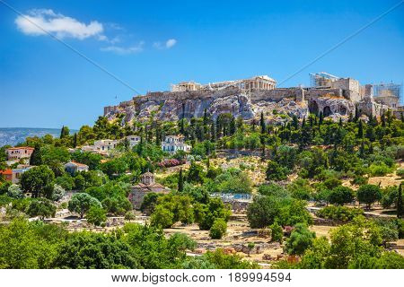 View of the Acropolis from the Agora, Athens, Greece