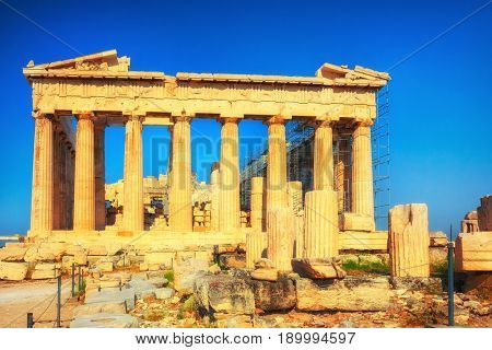 View on Parthenon in Acropolis of Athens at sunset, Greece