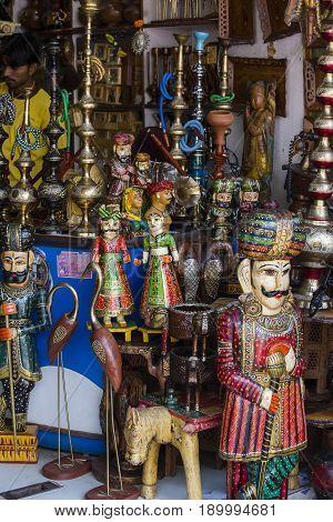PUSHKAR INDIA - OCTOBER 28 2014 : Hand-made souvenirs on the counter of the market in Pushkar India