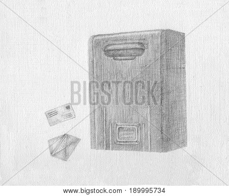 postbox with letters and envelopes on the pen drawing background