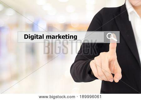 Businesswoman hand touch search bar with digital marketing word over blur background digital marketing concept businees and technology