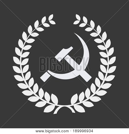 Isolated Laurel Wreath With  The Communist Symbol