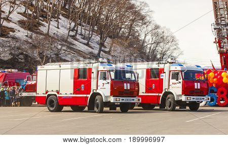 Russia Kamchatka - April 30 2017: Celebrating the 368th anniversary of the formation of the Day of Fire Protection of Russia. Fire fighting vehicles of the Ministry of Emergency Situations
