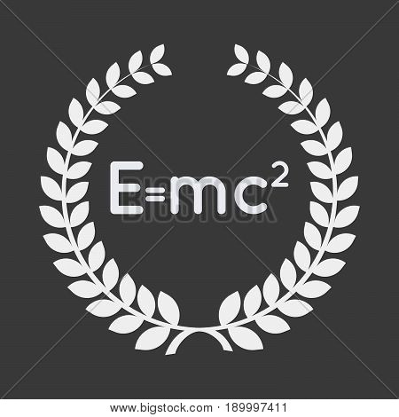 Isolated Laurel Wreath With The Theory Of Relativity Formula