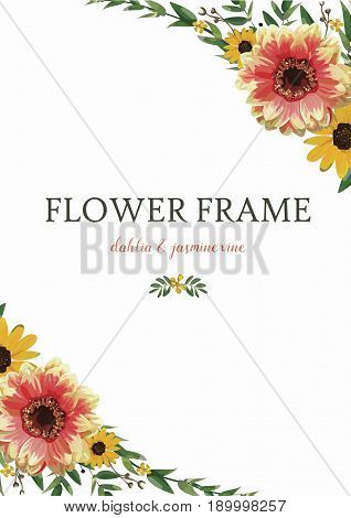 Flower Wreath Dahlia Sunflower Eucalyptus Leaves beautiful autumn yellow orange bouquet vector illustration top view vertical elegant Watercolor style design greeting invitation card white background