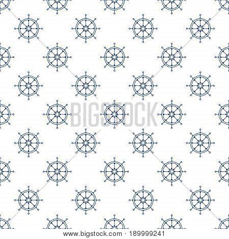 Blue Ship's Wheel on White Background Seamless Maritime Travel Pattern Line Style Design Vector Illustration