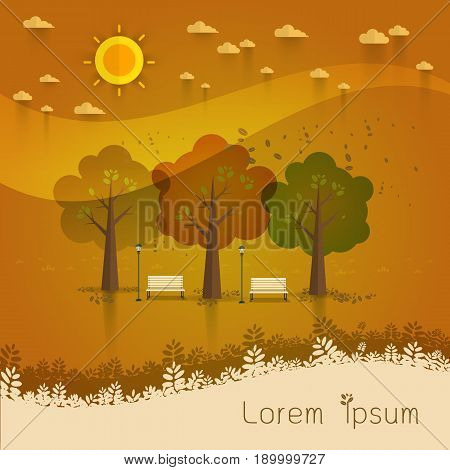 summer day park. natural landscape in the flat style.a beautiful park.Environmentally friendly natural landscape. Vector illustration