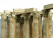 Corinthian Columns detail of The Temple of Olympian Zeus in Athens, Greece poster