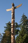 Totem shaped in Stanley park, BC Canada poster