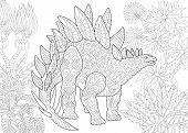 Stylized stegosaurus dinosaur of the Jurassic and early Cretaceous periods. Freehand sketch for adult anti stress coloring book page with doodle and zentangle elements. poster