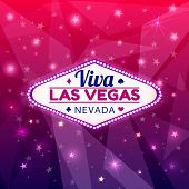 Las Vegas Casino Sign.Casino Neon Billboard Viva Las Vegas Nevada with Diamonds suit, Hearts suit, Spades symbol, Crest symbol in Frame of Light Bulbs on Neon Purple Shining Rays, Neon Stars Background poster