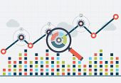 SEO optimization and business web analytics. Chart with graph up poster