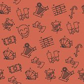Theater flat icons pattern - drama, comedy, curtain and mask, tragedy Vector illustration poster