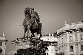 The Monument to King Victor Emmanuel II at Cathedral Square or Piazza del Duomo in Italian. Milan, Italy. poster