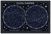 map of the celestial planisphere and the constellations poster