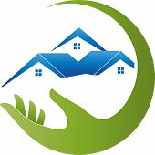 Hand and three houses, roofs, real estate and real estate broker logo poster