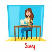 Woman sewing or or housewife dressmaker tailoring and fitting dress, wear or clothes with sewing machine, scissors or needles and threads. Vector poster design of atelier or dressmaking profession poster