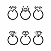 Diamond engagement ring icons with crystals. Vector Illustration. Black circle with shiny brilliant stone. isolated on white background. Flat fashion design element. Symbol engagement gift expensive. poster