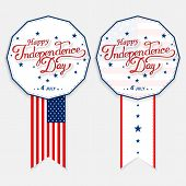 USA Happy Independence day lettering greeting card. Vector illustration with flag, balloon, star for congratulation american poster