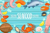 Seafood lettering on blue wooden background. Shellfish and oyster and crab, salmon, shrimp and octopus, prawn, mussel, flounder, sea fish, oysters and mussels, fish steak and caviar. Vector illustration. poster