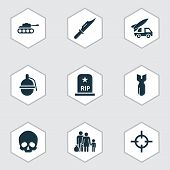 Combat Icons Set. Collection Of Ordnance, Rip, Cutter And Other Elements. Also Includes Symbols Such As Grenade, Panzer, Shot. poster