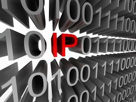 IP in the form of binary code isolated on white background. High quality 3d render.