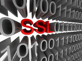 SSL in the form of binary code isolated on white background. High quality 3d render.