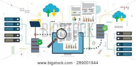 Big Data Analysis And Cloud Computing. Laptop Accessing Data From Cloud Computers. Data Network And