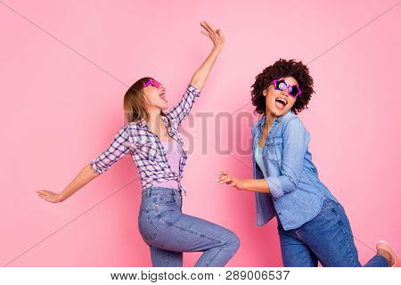Portrait Of Two Person Nice Cool Crazy Careless Carefree Attractive Charming Cheerful Cheery Childis