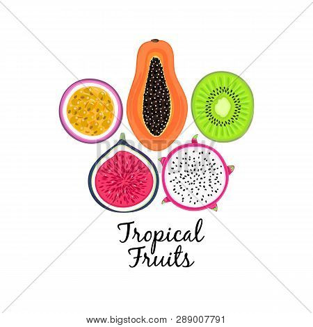 Vector Background With Tropical Fruits. Pitahaya Or Pitaya , Kiwi, Passion Fruit, Fig, Papaya. Creat