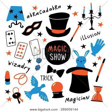 Magician Equipment Collection. Magic Elements And Symbols, Illusionist Tools For Tricks. Funny Doodl