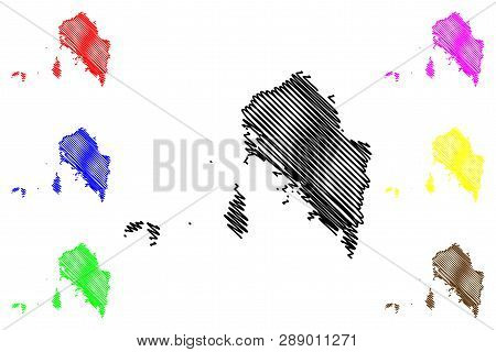 Satun Province (kingdom Of Thailand, Siam, Provinces Of Thailand) Map Vector Illustration, Scribble