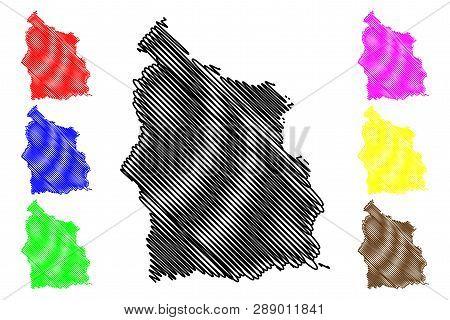 Sisaket Province (kingdom Of Thailand, Siam, Provinces Of Thailand) Map Vector Illustration, Scribbl