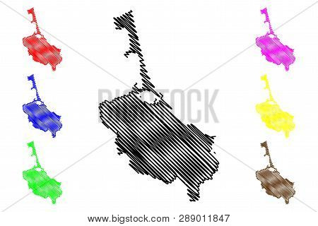 Songkhla Province (kingdom Of Thailand, Siam, Provinces Of Thailand) Map Vector Illustration, Scribb