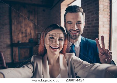 Close Up Photo She Her Pretty Business Lady He Him His Handsome Guy Laugh Laughter Hands Arms Hold S
