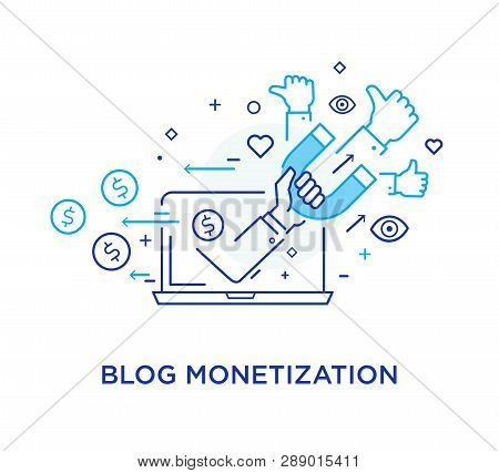Shake Hands Blog Monetisation. Virtual Communication Smartphone. Cooperation Interaction. Vector Ill