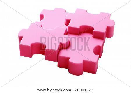 Interlocked Plastic Jigsaw Puzzle Blocks On White Background