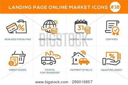 Flat Line Design Concept Icons Online Shopping, E-commerce M-commerce Services, Payment Procedure, C