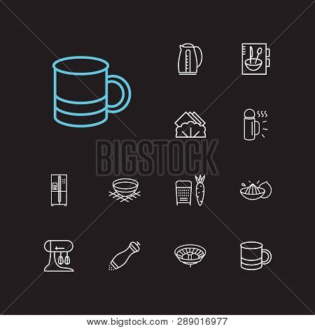 Utensil Icons Set. Grater And Utensil Icons With Bowl, Cookery Book And Mug. Set Of Plumbing For Web