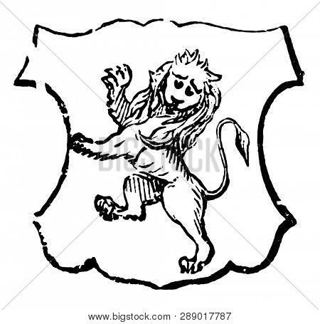 Lion Rampant Gardant is traditionally symbolizes bravery, vintage line drawing or engraving illustration.