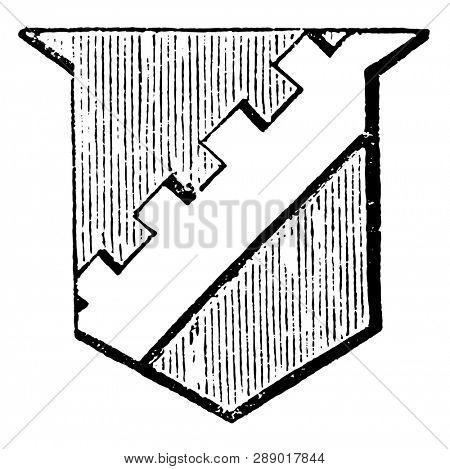 Bend Sinister Embattled is said to be embattled or crenelle, vintage line drawing or engraving illustration.