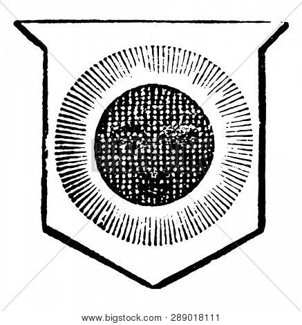 Moon Detriment is said to be in its detriment when it is eclipsed, vintage line drawing or engraving illustration.