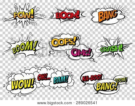 Comic Book Sound Effect Speech Bubbles, Expressions. Collection Vector Bubble Icon Speech Phrase, Ca