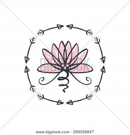 Harmony And Universe Symbol, Sacred Geometry. Ayurveda And Balance Logo Or Label