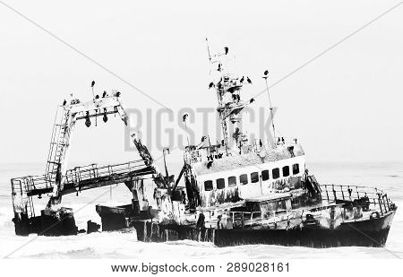 The Shipwreck Of The Zeila Near Henties Bay On The Skeleton Coast Of Namibia. Monochrome