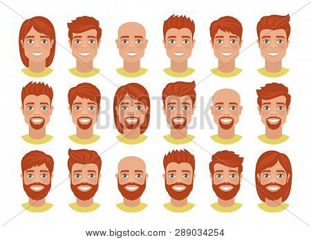 Set Of Mens Avatars With Various Hairstyles: Long Or Short Hair, Bald, With Beard Or Without. Redhea