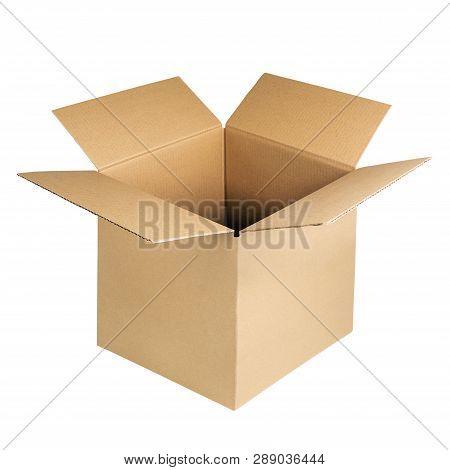 Open Cardboard Box Isolated On White Background. Brown Kraft Carton Corrugated Box