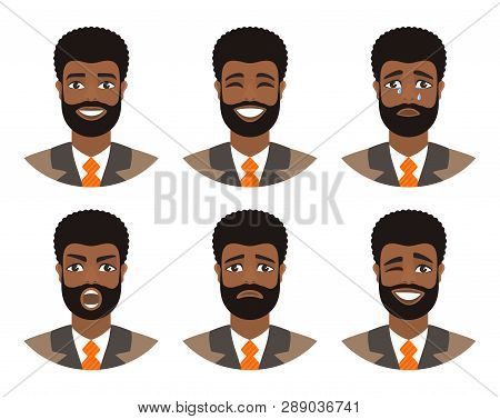 Set Of Mens Avatars Expressing Various Emotions: Joy, Sadness, Laughter, Tears, Anger, Disgust, Cry.