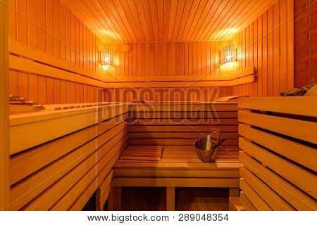 Small Home Finnish Wooden Sauna, Spa Room. Relax In A Hot Sauna, Finland-style Classic Wooden Sauna